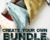 Scarf Bandanna Bib Bundle, Create Your Own, Reversible Baby Bibs, Teething Drool Dribble, Teething Essential, Modern Arrows Florals Geos