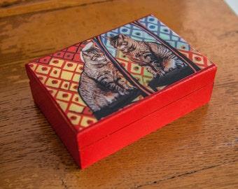 Keepsake Box, Cat Art, Wooden, Picasso's Cat,  Cat Lover Gift, Jewelry Box, Keepsake Box, Deborah Julian