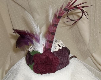 Burgundy Valentine Fascinator- Burgundy Button with Lace, Flower and Feathers- Headband- Mini Hat