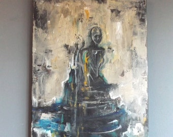 Original Abstract Acrylic Portrait Painting