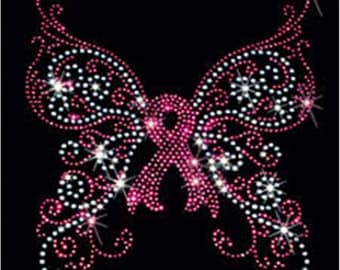 Breast Cancer Awareness Rhinestone T-Shirt Sizes S-4XL - Ribbon Butterfly