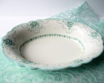 Vintage Serving Bowl Grindley English Minty Green Floral - So Shabby Sweet