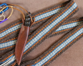 Handwoven Wool Sash, Mountain Man Sash, Carrying Strap, Historic Costume