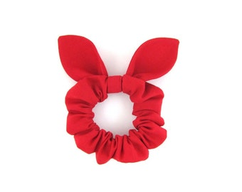 Knot Bow Hair Scrunchie Red