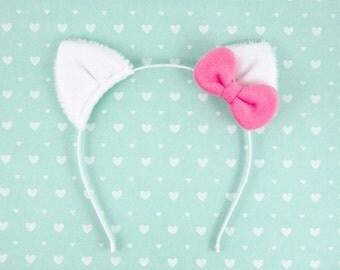 Cat Ears Headband Halloween Costume White Cat with Bow