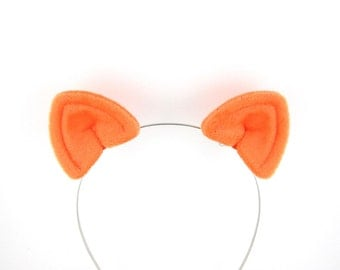 Cat Ears Hair Clips Orange Plush Cat Costume Ears