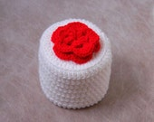Cottage Rose Crochet Toilet Paper Cover, Red Flower Cozy, Storage, Modern Bathroom Decor
