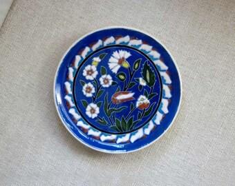 Turkish Art Pottery Plate, Wall Decor, Ceramic Carnation & Tulip Dish, Vintage 1980s, Kutahya, Turkey, Decorative