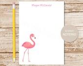 personalized flamingo notepad . flamingo note pad . personalized stationery . stationary . tropical bird notepad
