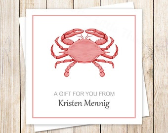 PRINTABLE red crab tags . crab gift tags . red crab favor tags . personalized nautical beach tags