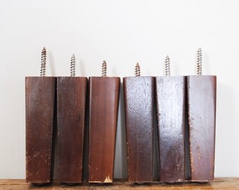 "Mid Century Modern Tapered Wood Table Legs 6"" Set of Six"