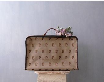40% OFF SALE // Vintage weekender bag. Pierre Cardin briefcase. 70s brown monogram suitcase