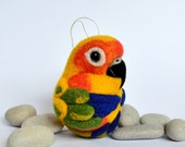 Sun Conure, needle felted bird, wool ornament ball, MADE TO ORDER