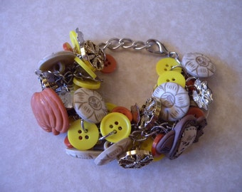 "Chunky Button ""Charm"" Bracelet - Mixed Metal, Autumn, Fall Harvest, Halloween, Mabon, Samhain, Thanksgiving, Wheel of the Year"
