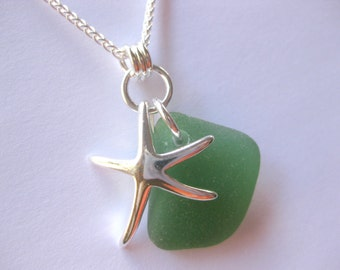SS Starfish Green Seaglass pendant SS sea glass jewelry Sterling beach Glass necklace Beach Glass Jewelry