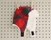 Baby Boy Earflap Hat Aviator Hat Bomber Hat Cap - Red Buffalo Plaid