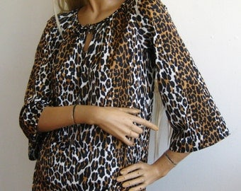 Vintage 60s Vanity Fair Leopard Print Nylon Wide Leg Pajama Party Set