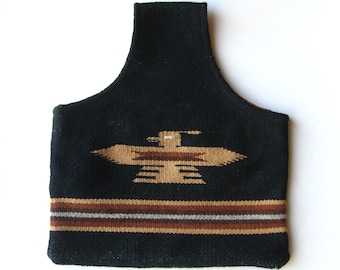 Vintage 50s Chimayo Black Woven Blanket Wool Over the Arm Purse Bag
