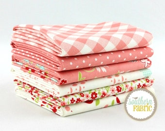 "Vintage Picnic - Pink - Fat Quarter  Bundle - 6 - 18""x21"" Cuts - Bonnie and Camille - Moda Quilt Fabric"