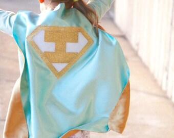 Free mask sale - KIDS Personalized Mint and Gold Superhero Cape Set - Gold Shield - INITIAL - Gold wrist bands - Basic bolt mask