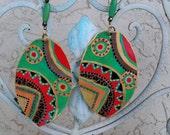 African Earrings, Dangle earrings, Afrocentric, Tribal, Ethnic, Statement Earrings, Gift for women, Hand painted. African art, Afro Earrings