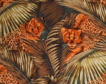 Vintage 90s Leopard Safari Silk Scarf by Ellen Tracy / 1990s Animal Print Square Scarf
