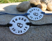 His and Her couples bracelet set - personalized hand stamped bracelet - custom bracelets - customized bracelets - personalized name bracelet