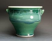 Sale-Ceramic stoneware kitchen utensil holder pottery kitchen jar jade green 2770