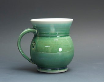 Pottery coffee mug, ceramic mug, porcelain tea cup jade green 14 oz 3064