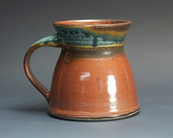 Handmade pottery coffee mug, ceramic mug, stoneware tea cup 14 oz mug  3088