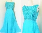 50% OFF SALE Vintage 1960's Mike Benet Formal Gown Party Dress / Turquoise Chiffon Sleeveless Rhinestone Bust Evening Elegant Prom Long Dres