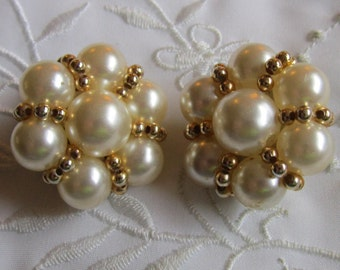 Vintage Faux Pearl and Gold Tone Seed Bead Clip On Earrings
