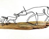 Doe with Fawns Wire Sculpture, Deer Sculpture, Wildlife Art, Minimal Sculpture, Wire Folk Art, 266285299