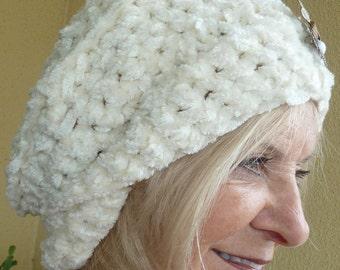 Bohemian Accessories White Crochet Winter Hat