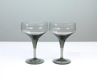 2 Orrefors Rhapsody Swedish Smoke Gray Champagne Glasses