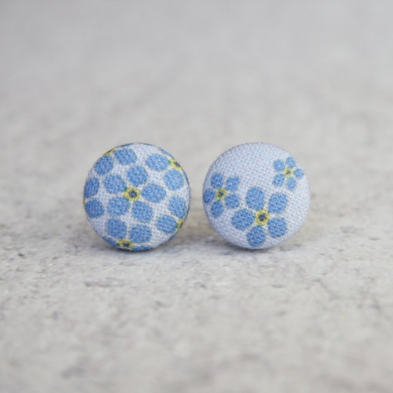 Forget Me Not Fabric Button Earrings