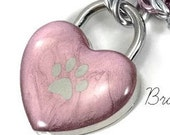 Pink Heart Lock with Silver Bear Paw Print