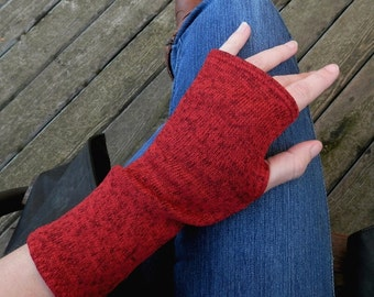 Fingerless gloves, arm warmers, txting gloves, knit sweater in Red