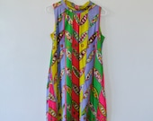 Vintage Geometric Print Dress - Sleeveless Patterned Dress - Size Medium Large - Gift For Her