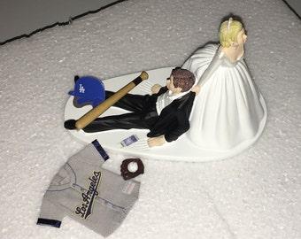 Los Angeles Dodgers Wedding Cake Topper Bride Groom hat jersey