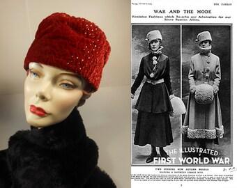 Grand Duchess Marie Pavlovna - Vintage 1915 Crushed Red Silk Velvet Military Toque Hat w/Rhinestones - Museum Quality