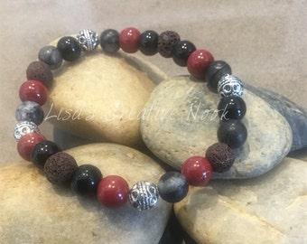 Essential Oil Diffuser Bracelet, Burgundy Beaded Diffusing Lava Bead Stretch Bracelet, Diffuser Bracelet, Natural Healing