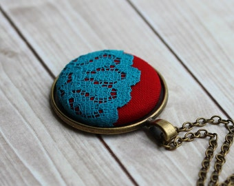 Red and Turquoise Jewelry, Boho Red and Teal Necklace, Domed Lace Pendant, Painted Jewelry, Unique Necklace for Women, Gift, Eclectic,