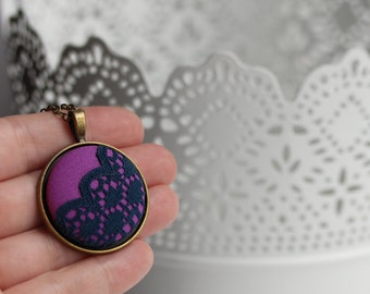 Purple and Navy Necklace, Purple, Blue Boho Jewelry, Painted Scalloped Lace Jewelry, Unique Gift for Women, Circle Pendant, Bohemian, Retro