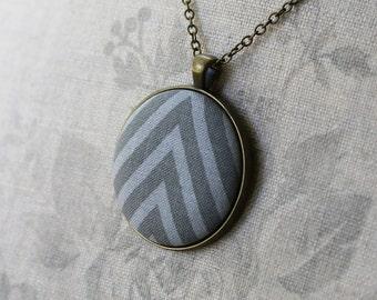 Gray Arrow Necklace, Chevron Pendant, Fabric Necklace, Chevron Jewelry, Chevron Necklace, Geometric Pattern, Modern, Minimal