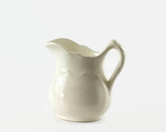 Vintage White Pitcher, Small Pottery Pitcher, Cream Pitcher, Creamer, Farmhouse Decor, Creamy White