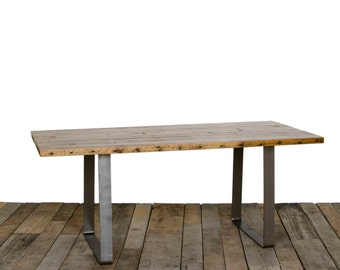 "Reclaimed Wood Dining Table with 1.65"" wood tops and modern flat steel legs"