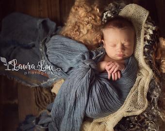Newborn Wrap, Big Baby Wrap, Baby Cotton Wrap, Denim Blue Wrap, Baby Photo Prop, newborn Props, RTS, Vintage Wrap, Fringe Wrap