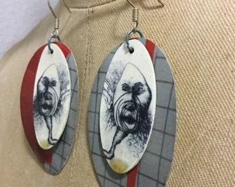 Ugly Self Portrait Layered on Grid Earrings