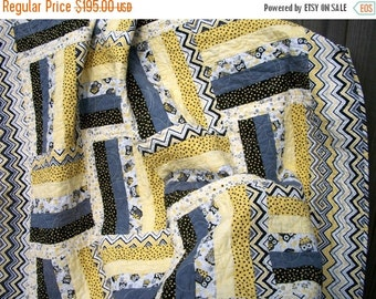 CIJ SALE Owl Lap Quilt Yellow Gray Black White Quilted Patchwork Quiltsy Handmade FREE U.S. Shipping